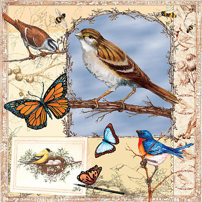 Painting - Birds And Butterflies by Sher Sester