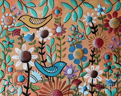 Folk Art Painting - Birds And Flowers 1 by Karla Gerard