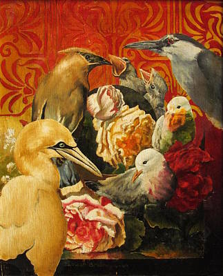 Painting - Birds and Flowers by Adriaan Brolsma