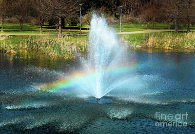 Butler Park Austin Texas Photograph - Birds And Fun At Butler Park Austin Rainbow Fountain by Felipe Adan Lerma