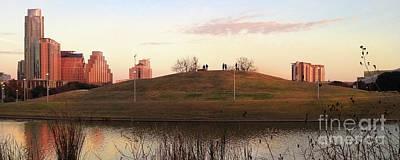 Butler Park Austin Texas Photograph - Birds And Fun At Butler Park Austin - Silhouettes 1 Panorama by Felipe Adan Lerma