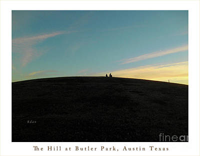 Town Lake Park Photograph - Birds And Fun At Butler Park Austin - Silhouettes 2 Greeting Card Poster - The Hill At Butler Park A by Felipe Adan Lerma