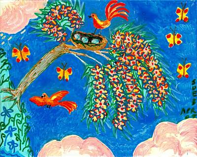 Birds And Nest In Flowering Tree Art Print by Sushila Burgess