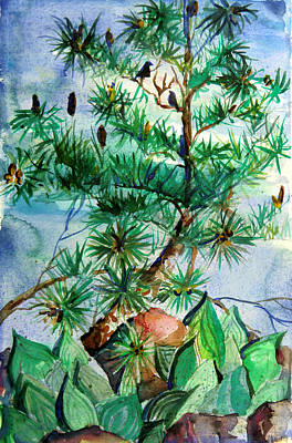 Birds And Pine Cones Original by Mindy Newman