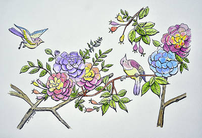 Animals Paintings - Birds and Roses I by Linda Brody