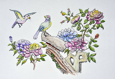 Animals Paintings - Birds and Roses II  by Linda Brody