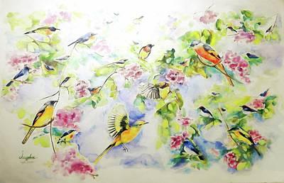 Colourfull Painting - Birds Assembly by Jongdee Thongkam