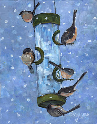 Painting - Birds At Feeder by Peggy Wilson
