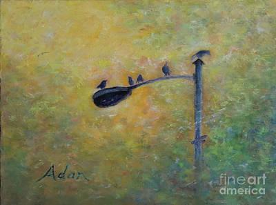 Painting - Birds At Pfluger Bridge Austin by Felipe Adan Lerma