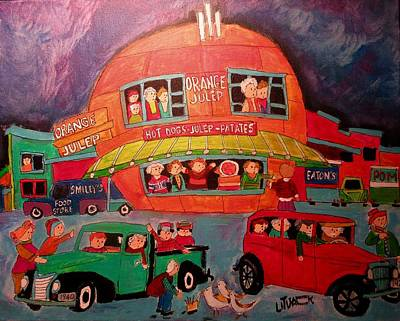 Montreal Icon Painting - Birds At The Orange Julep by Michael Litvack