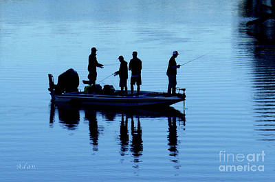 Photograph - Birds Boaters And Bridges Of Barton Springs - Fishermen In Blue by Felipe Adan Lerma