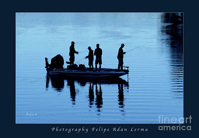 Photograph - Birds Boaters And Bridges Of Barton Springs - Fishermen In Blue Greeting Card And Poster by Felipe Adan Lerma