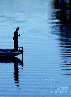Photograph - Birds Boaters And Bridges Of Barton Springs - Fishermen In Blue Vertical by Felipe Adan Lerma