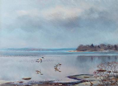 Sea Birds Painting - Birds By The Shore by MotionAge Designs