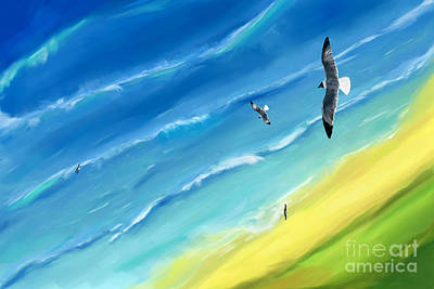 Digital Art - Bird's-eye Above Sea by Jan Brons