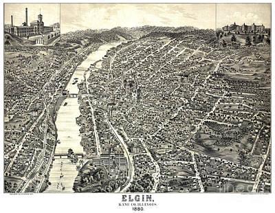Old Map Painting - Bird's Eye Of Elgin - Illinois - 1880 by Pablo Romero