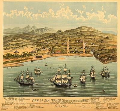 Drawing - Birds Eye View Map Of San Francisco 1846 by Mountain Dreams