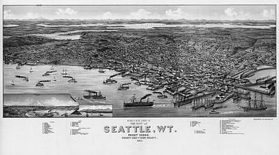 Photograph - Bird's Eye View Map Of The City Of Seattle, by Mark Kiver
