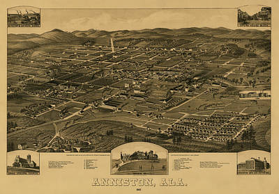 Plan View Drawing - Bird's Eye View Of Anniston Alabama 1887 by Mountain Dreams