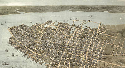 Digital Art - Birds Eye View Of Charleston 1872 by Keith Dotson