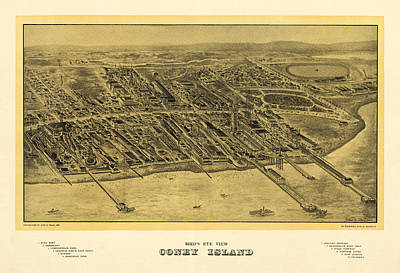 New York Photograph - Birds Eye View Of Coney Island New York by Bill Cannon