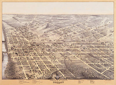 Dallas Drawing - Birds Eye View Of Dallas Texas 1872 by Bill Cannon