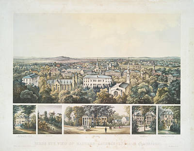 Harvard Wall Art - Photograph - Bird's Eye View Of Harvard College And Old Cambridge 1858 by Ricky Barnard