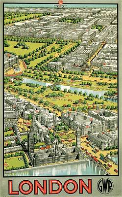 Royalty-Free and Rights-Managed Images - Birds Eye view of London - Vintage Travel Poster by Studio Grafiikka