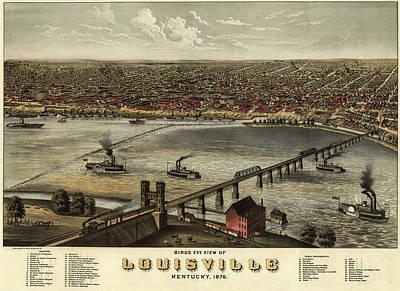 1876 Mixed Media - Bird's Eye View Of Louisville, Kentucky 1876 by Ruger