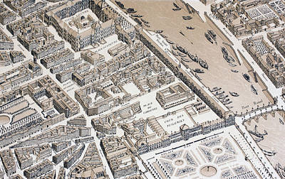 Louvre Drawing - Bird's Eye View Of Paris In 1730 by French School