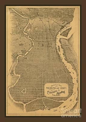 Philadelphia Street Drawing - Birds Eye View Of Philadelphia by Pd
