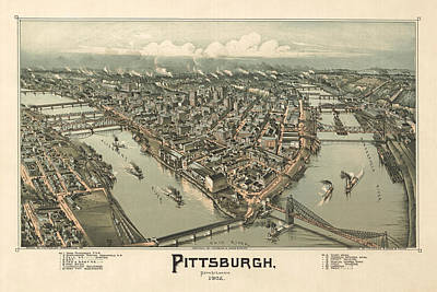 Drawing - Bird's Eye View Of Pittsburgh Pennsylvania by Thaddeus Mortimer Fowler