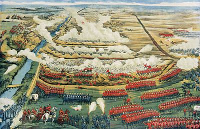 Colonial Troops Painting - Bird's-eye View Of The Battle Of Tel El-kebir by English School