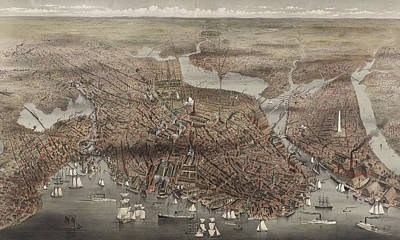 Massachusetts Coast Painting - Birds Eye View Of The City Of Boston, Circa 1873 by Currier and Ives