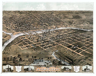 Old Map Painting - Bird's Eye View Of The City Of Des Moines - Iowa - 1868 by Pablo Romero