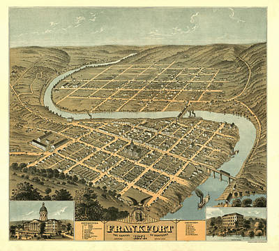 Drawing - Bird's Eye View Of The City Of Frankfort The Capital Of Kentucky 1871 by Ehrgott and Krebs