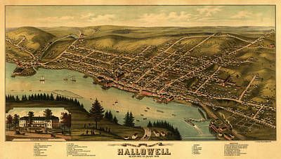 1878 Painting - Bird's Eye View Of The City Of Hallowell, Kennebec Co., Maine by Ruger
