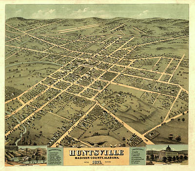 Huntsville Wall Art - Painting - Bird's Eye View Of The City Of Huntsville, Madison County, Alabama 1871 by Ruger