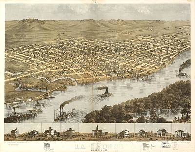 Painting - Birds Eye View Of The City Of La Crosse Wisconsin 1867 by Celestial Images