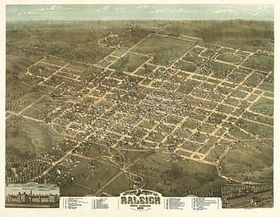 Bird's Eye View Of The City Of Raleigh, North Carolina 1872 Art Print