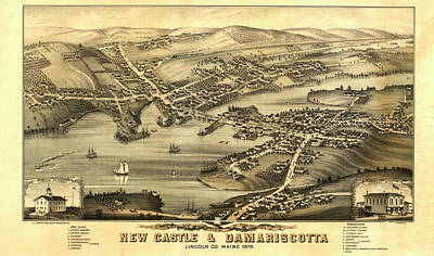 1878 Painting - Birds Eye View Of The Villages Of New Castle And Damariscotta by Ruger