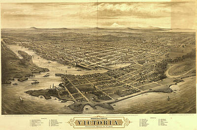 1878 Painting - Bird's-eye View Of Victoria, Vancouver Island by Glover