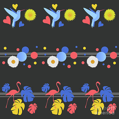 Repeat Digital Art - Birds, Flowers, Spots And Stripes by Claire Huntley
