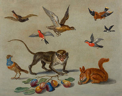 Grasshopper Painting - Birds Flying Around A Monkey by Jan van Kessel The Elder