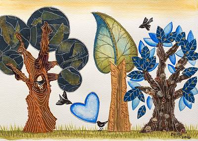 Children Book Mixed Media - Birds In Love by Graciela Bello