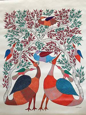 Gond Painting - Birds In Nature by Chrandrakali Pusham