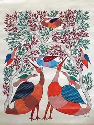 Gond Painting - Birds In Nature by Chrandrakali Pusham