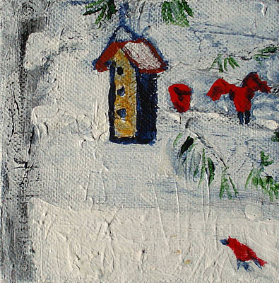 Painting - Birds In Snow by Angela Annas