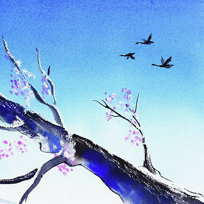 Sakura Painting - Birds In The Blue Sky Watercolor  by Irina Sztukowski