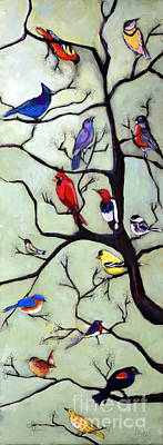 Self-taught Painting - Birds In The Tree by David Hinds